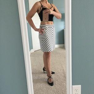 Cynthia Rowley White Knit Skirt with Black Stripes